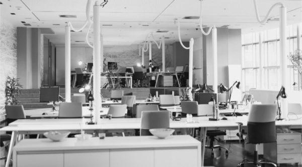Modernes Büro, Abteilung, Leer, hoher Krankenstand
