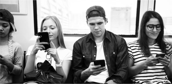 junge menschen, smartphones, digitalisierung