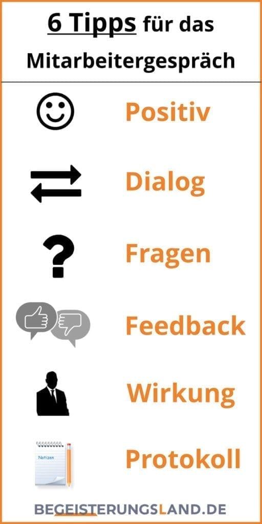 Mitarbeitergespräche, 6 Tipps, Infografik